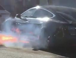 Tesla режиссера Майкла Морриса загорелась во время движения